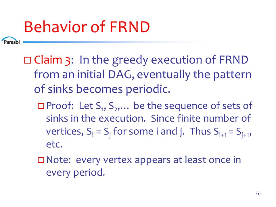 Behavior of FRND  Claim 3: In the greedy execution of FRND from an initial DAG, eventually the pattern of sinks becomes periodic.  Proof: Let S 1, S