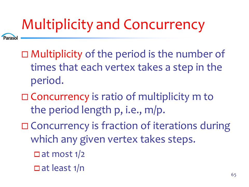 Multiplicity and Concurrency  Multiplicity of the period is the number of times that each vertex takes a step in the period.