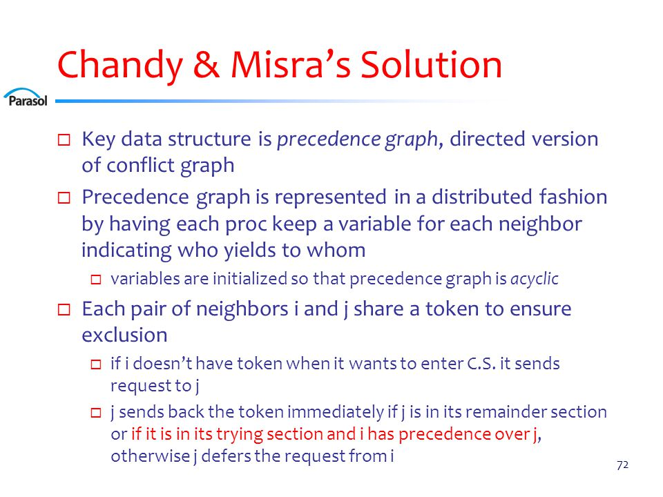 Chandy & Misra's Solution  Key data structure is precedence graph, directed version of conflict graph  Precedence graph is represented in a distribu