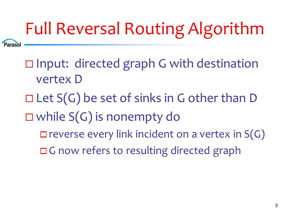 Full Reversal Routing Algorithm 8  Input: directed graph G with destination vertex D  Let S(G) be set of sinks in G other than D  while S(G) is non