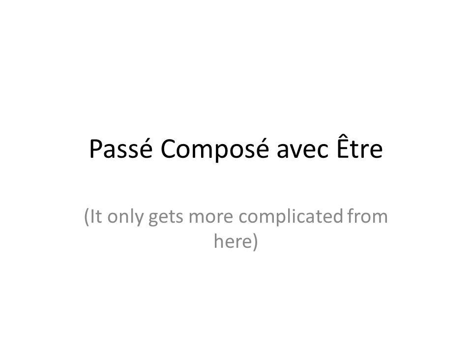 Passé Composé avec Être (It only gets more complicated from here)