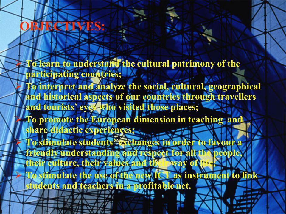 Communicative activities:  Videconferencing  E-mail exchanges  Interview among students via e-mail to express their ideas Productive activities:  Brochure of every country or region presented by a ghost traveller of the past;  Web page containing information and images of different countries or regions  Personal card of famous travellers Project activities school-year 2004/2005
