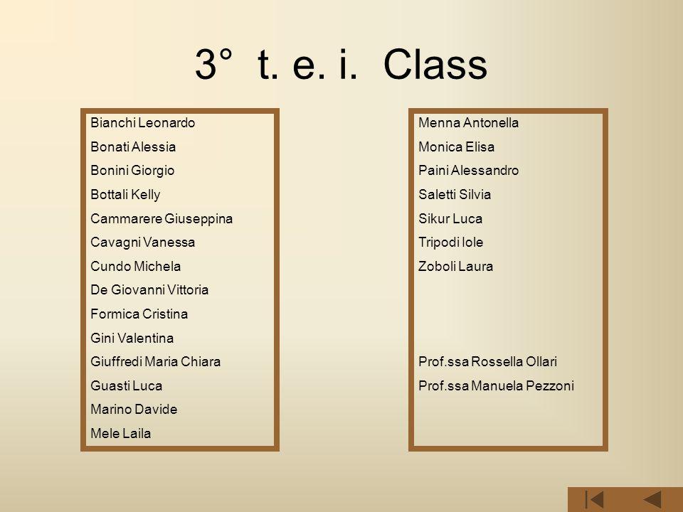 3° t. e. i. Class Bianchi Leonardo Bonati Alessia Bonini Giorgio Bottali Kelly Cammarere Giuseppina Cavagni Vanessa Cundo Michela De Giovanni Vittoria