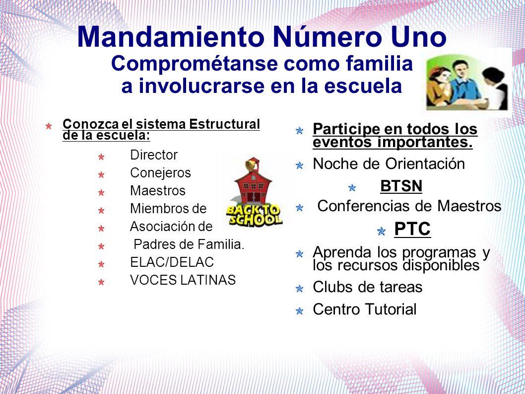 Mandamiento Número Uno Comprométanse como familia a involucrarse en la escuela Conozca el sistema Estructural de la escuela: Director Conejeros Maestros Miembros de Asociación de Padres de Familia.