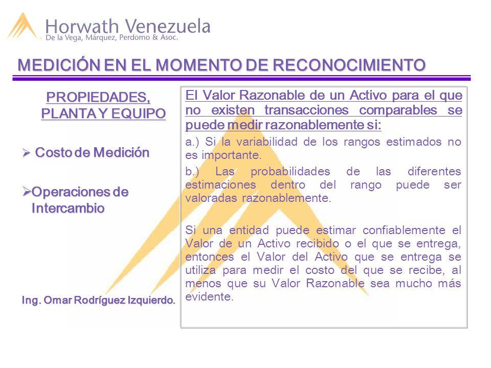 MEDICIÓN EN EL MOMENTO DE RECONOCIMIENTO PROPIEDADES, PLANTA Y EQUIPO  Costo de Medición  Operaciones de Intercambio Ing.
