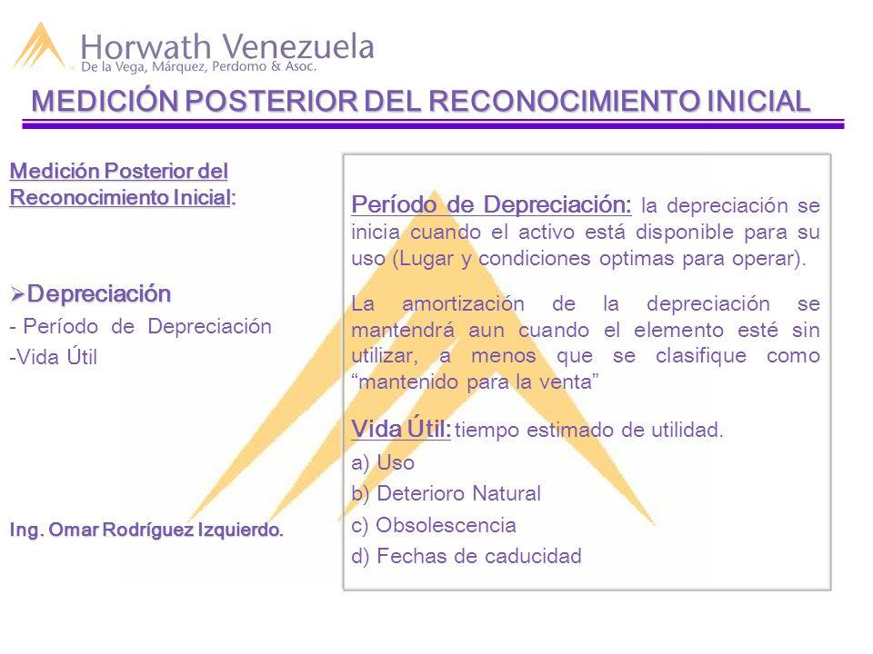 Período de Depreciación: la depreciación se inicia cuando el activo está disponible para su uso (Lugar y condiciones optimas para operar).
