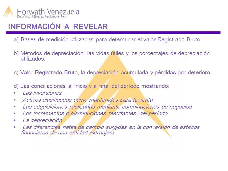 a)Bases de medición utilizadas para determinar el valor Registrado Bruto.