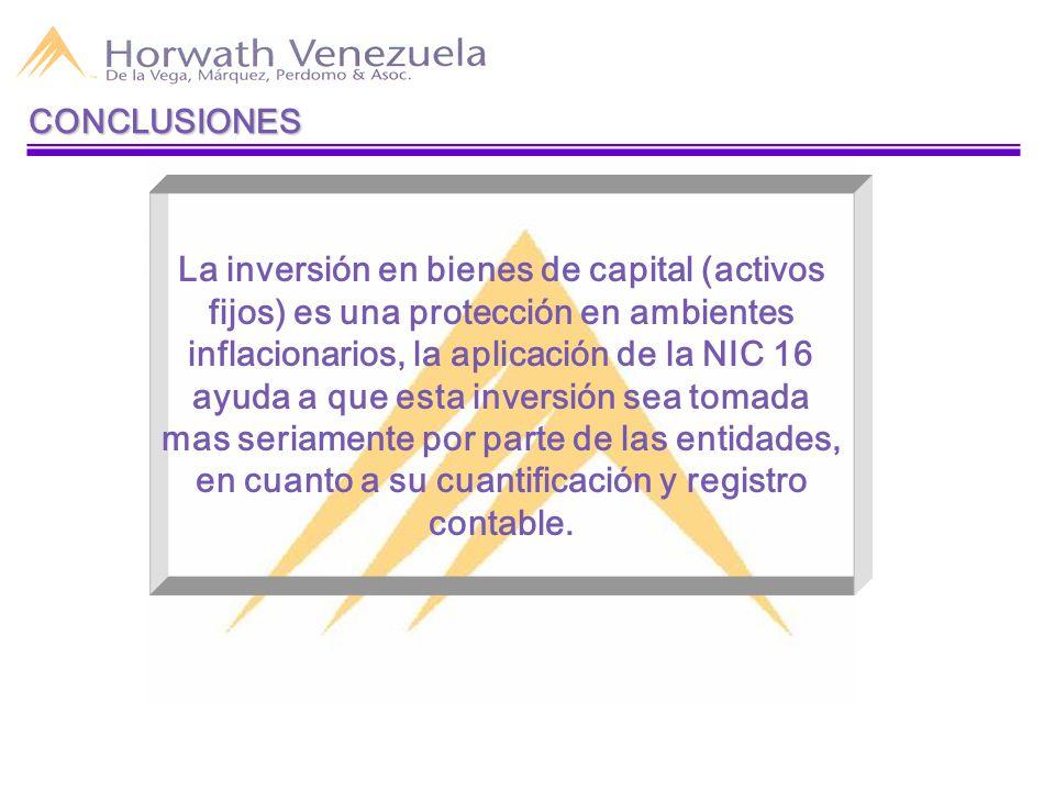 CONCLUSIONES La inversión en bienes de capital (activos fijos) es una protección en ambientes inflacionarios, la aplicación de la NIC 16 ayuda a que esta inversión sea tomada mas seriamente por parte de las entidades, en cuanto a su cuantificación y registro contable.