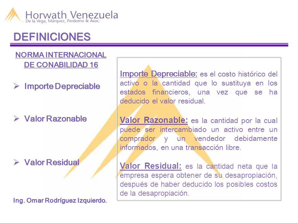 DEFINICIONES NORMA INTERNACIONAL DE CONABILIDAD 16  Importe Depreciable  Valor Razonable  Valor Residual Ing.