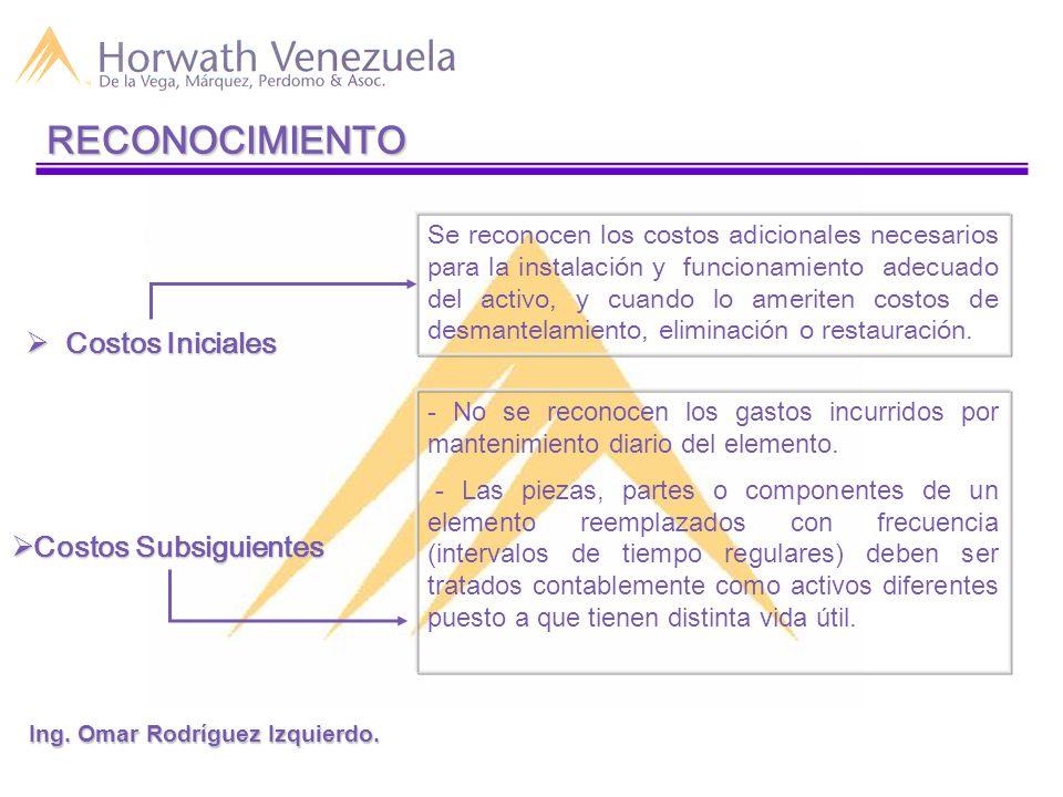 Elementos del Costo: - Precio de compra, aranceles de importación e impuestos indirectos no recuperables.