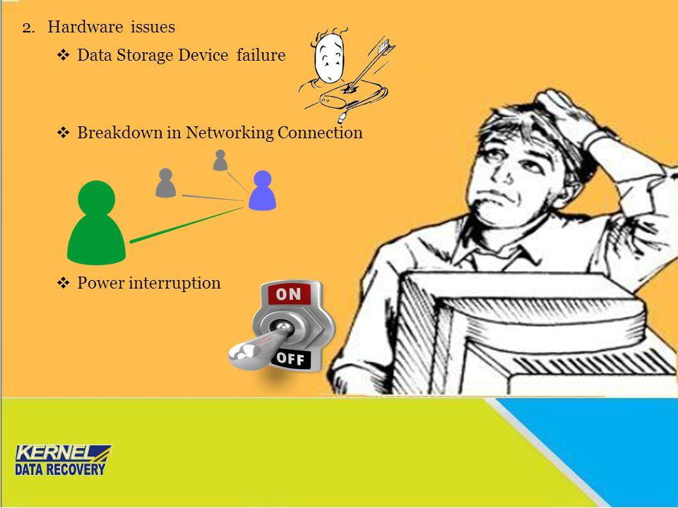 2.Hardware issues  Data Storage Device failure  Breakdown in Networking Connection  Power interruption