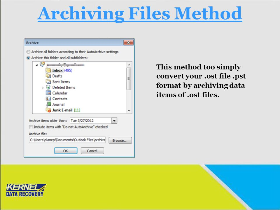 Archiving Files Method This method too simply convert your.ost file.pst format by archiving data items of.ost files.