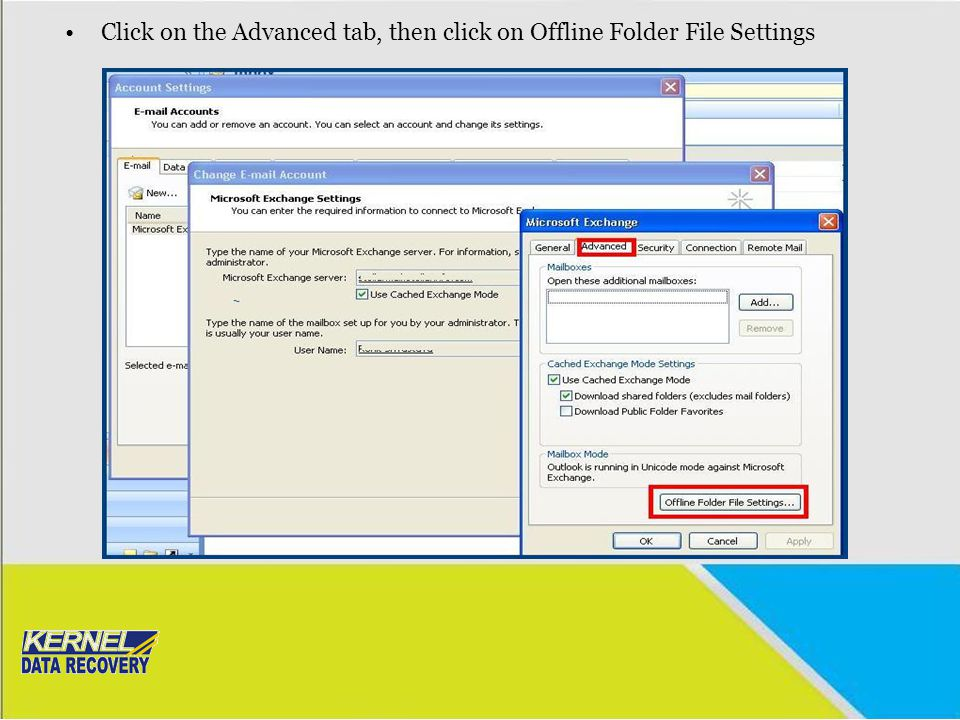 Click on the Advanced tab, then click on Offline Folder File Settings