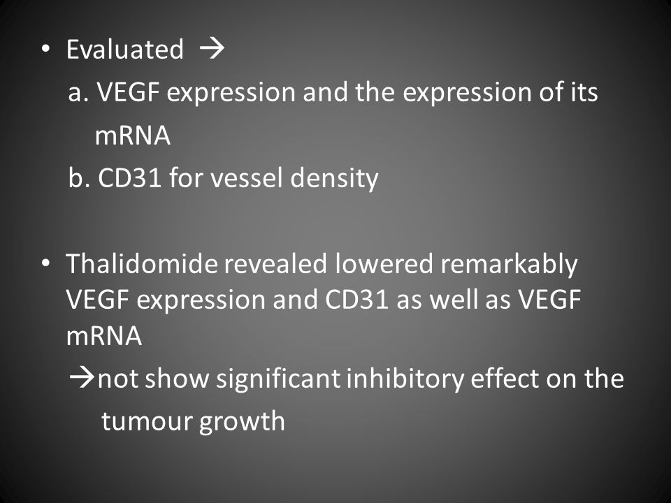 Evaluated  a. VEGF expression and the expression of its mRNA b.