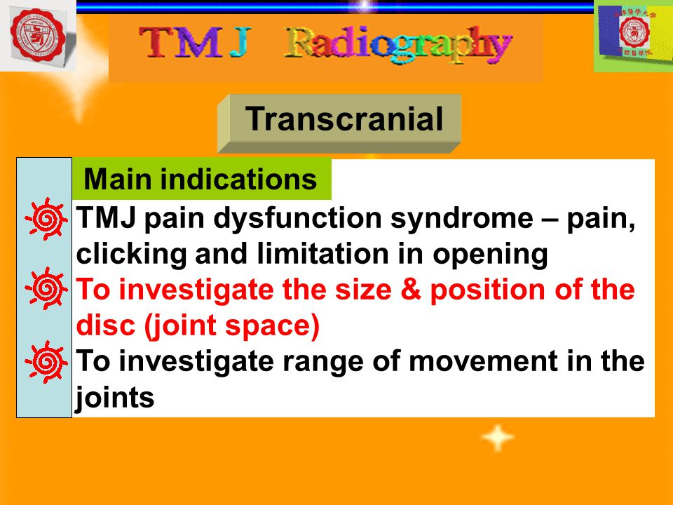 Transcranial TMJ pain dysfunction syndrome – pain, clicking and limitation in opening To investigate the size & position of the disc (joint space) To