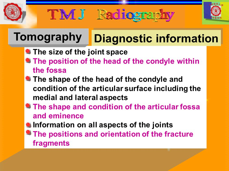 Diagnostic information The size of the joint space The position of the head of the condyle within the fossa The shape of the head of the condyle and c