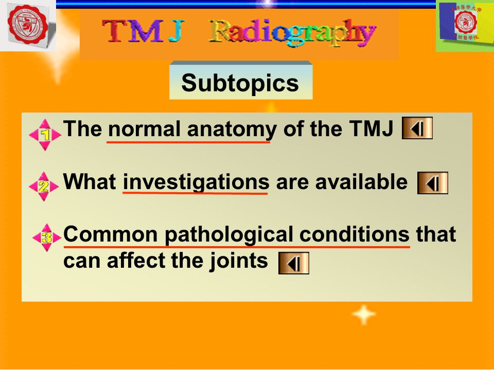 Main indications Transpharyngeal TMJ pain dysfunction syndrome To investigate the presence of joint disease, particularly osteoarthritis and rheumatoid arthritis To investigate pathological conditions affecting the condylar head, including cysts or tumors Fractures of the neck and head of the condyle
