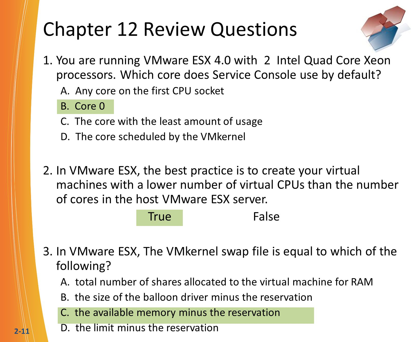 2-11 Chapter 12 Review Questions 1.