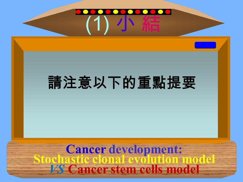 (1) 小 結 Cancer development: Stochastic clonal evolution model VS Cancer stem cells model 1. In stochastic model, clonal variants, including stromal ce