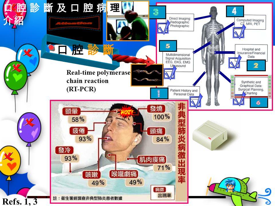口 腔 診 斷 Real-time polymerase chain reaction (RT-PCR) Refs. 1, 3 口 腔 診 斷 及 口 腔 病 理 介紹