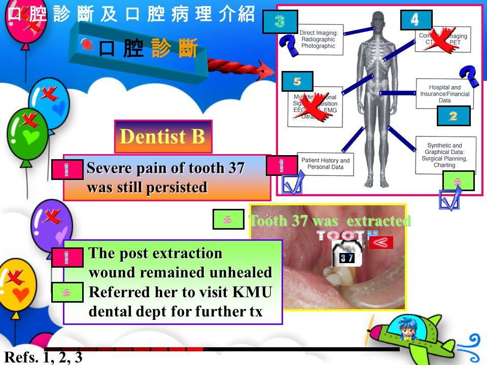 口 腔 診 斷 Severe pain of tooth 37 was still persisted Severe pain of tooth 37 was still persisted Dentist B The post extraction The post extraction woun