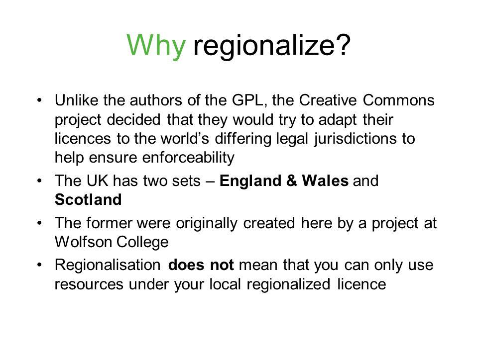 Why regionalize.
