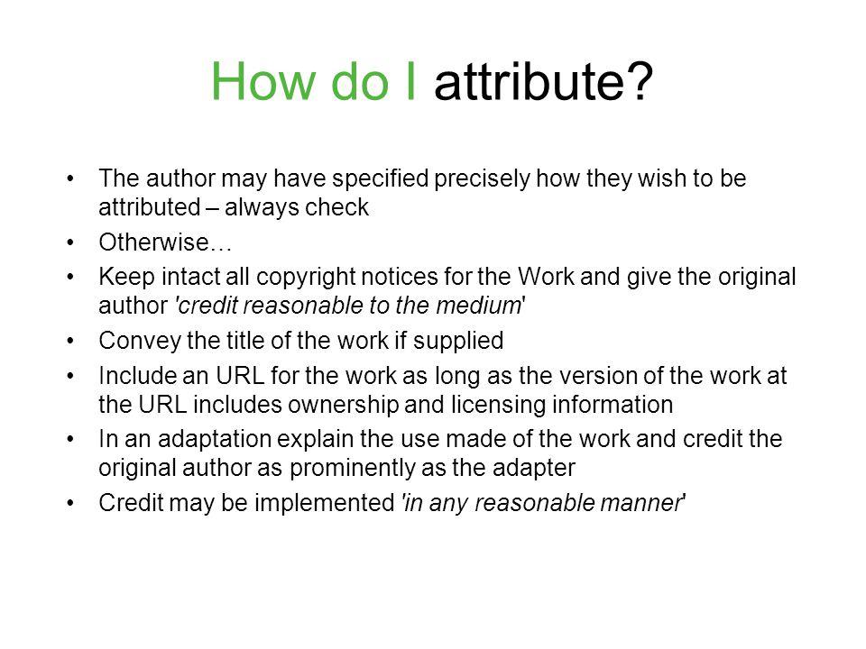 How do I attribute.