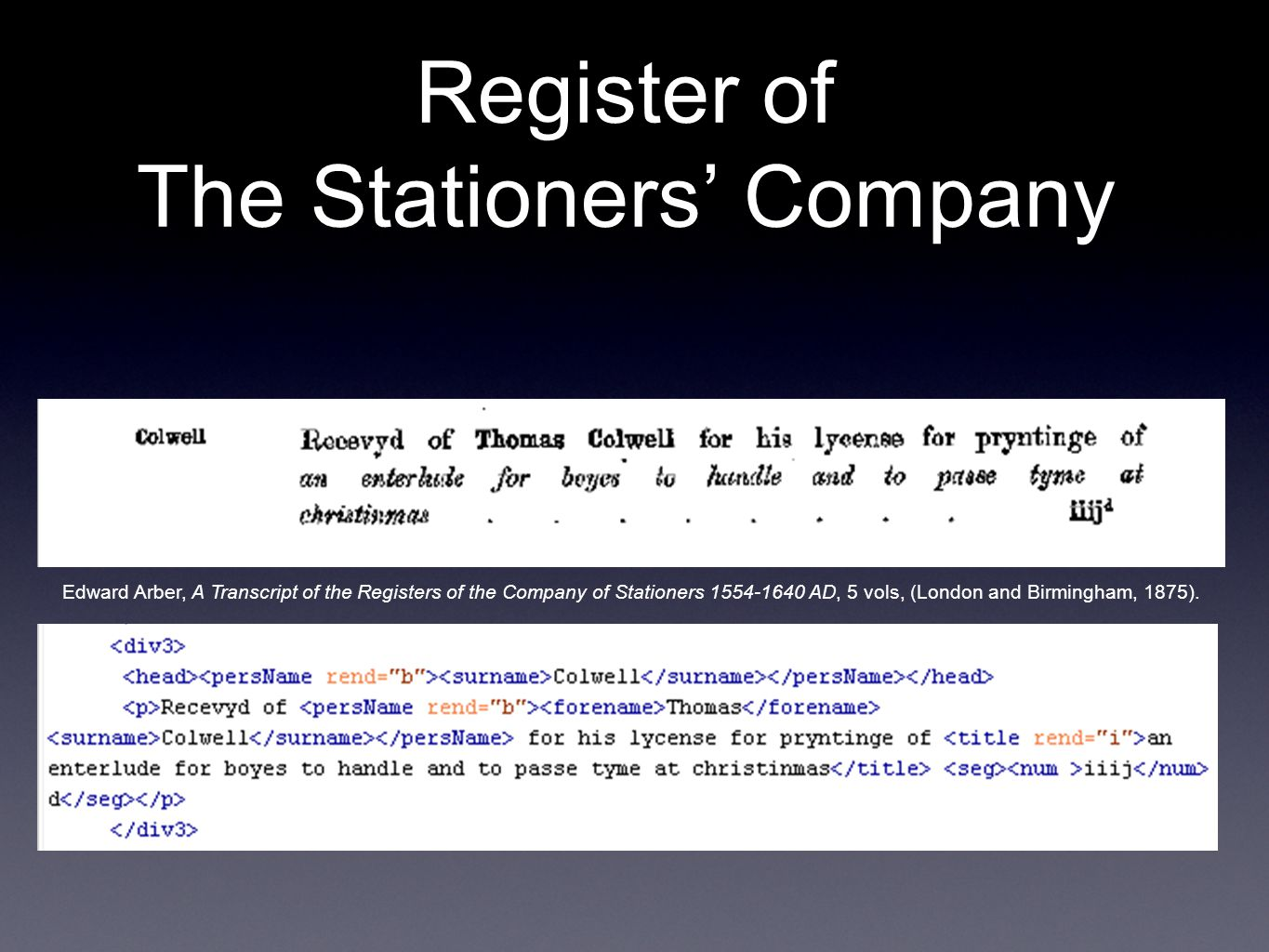 Register of The Stationers' Company Edward Arber, A Transcript of the Registers of the Company of Stationers 1554-1640 AD, 5 vols, (London and Birming