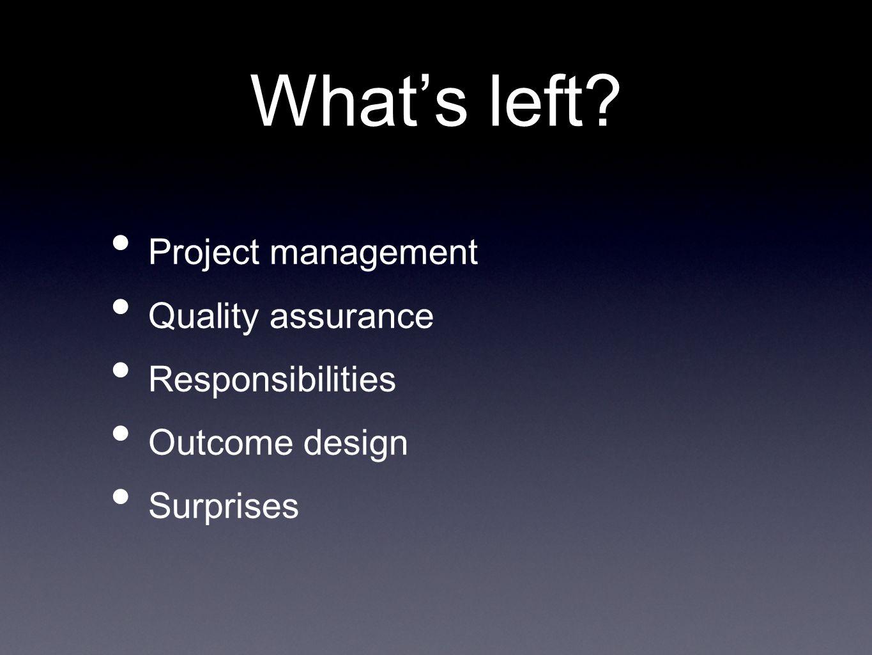 What's left Project management Quality assurance Responsibilities Outcome design Surprises