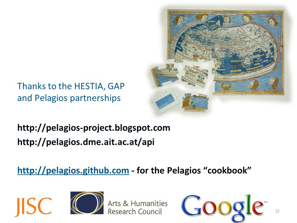 Thanks to the HESTIA, GAP and Pelagios partnerships http://pelagios-project.blogspot.com http://pelagios.dme.ait.ac.at/api http://pelagios.github.comhttp://pelagios.github.com - for the Pelagios cookbook 32
