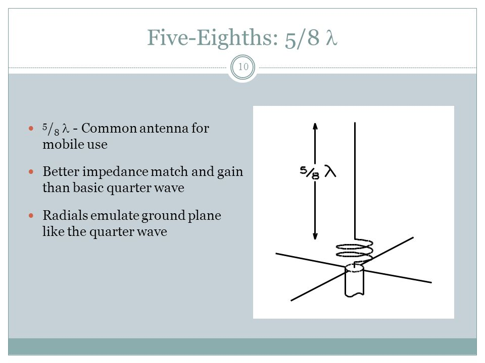 Five-Eighths: 5/8  5 / 8  - Common antenna for mobile use Better impedance match and gain than basic quarter wave Radials emulate ground plane like the quarter wave 10