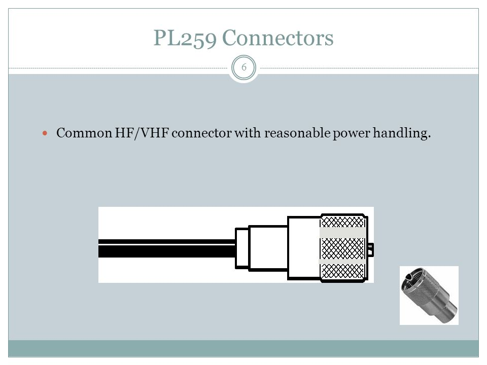 PL259 Connectors Common HF/VHF connector with reasonable power handling. 6