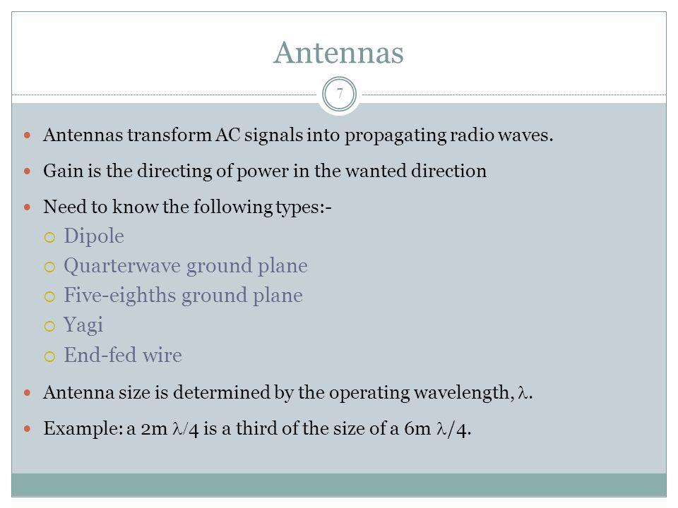 Antennas Antennas transform AC signals into propagating radio waves.