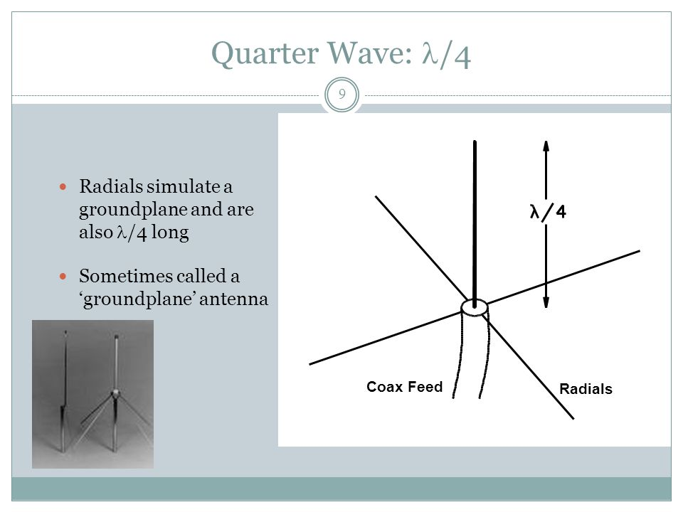 Quarter Wave: /4 Radials simulate a groundplane and are also /4 long Sometimes called a 'groundplane' antenna Coax Feed Radials 9