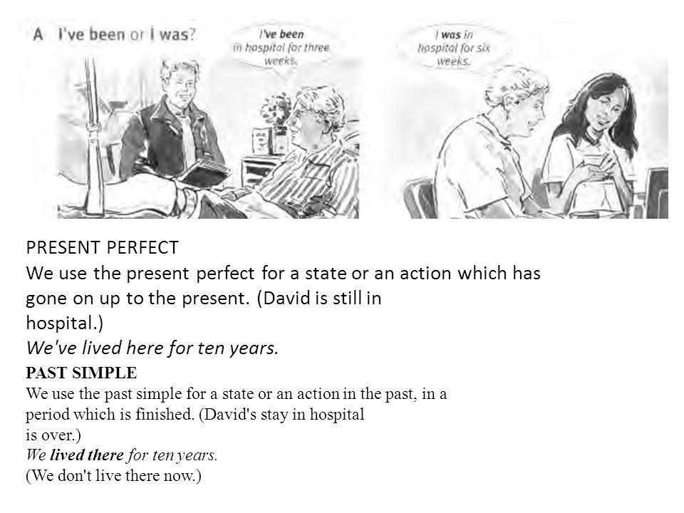 PRESENT PERFECT We use the present perfect for a state or an action which has gone on up to the present. (David is still in hospital.) We've lived her
