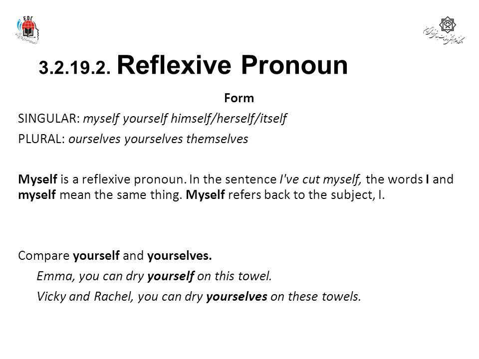 3.2.19.2. Reflexive Pronoun Form SINGULAR: myself yourself himself/herself/itself PLURAL: ourselves yourselves themselves Myself is a reflexive pronou