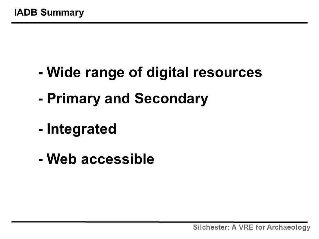 Silchester: A VRE for Archaeology IADB Summary - Wide range of digital resources - Primary and Secondary - Integrated - Web accessible