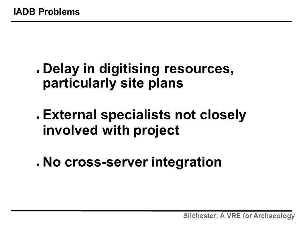 Silchester: A VRE for Archaeology IADB Problems ● Delay in digitising resources, particularly site plans ● External specialists not closely involved with project ● No cross-server integration
