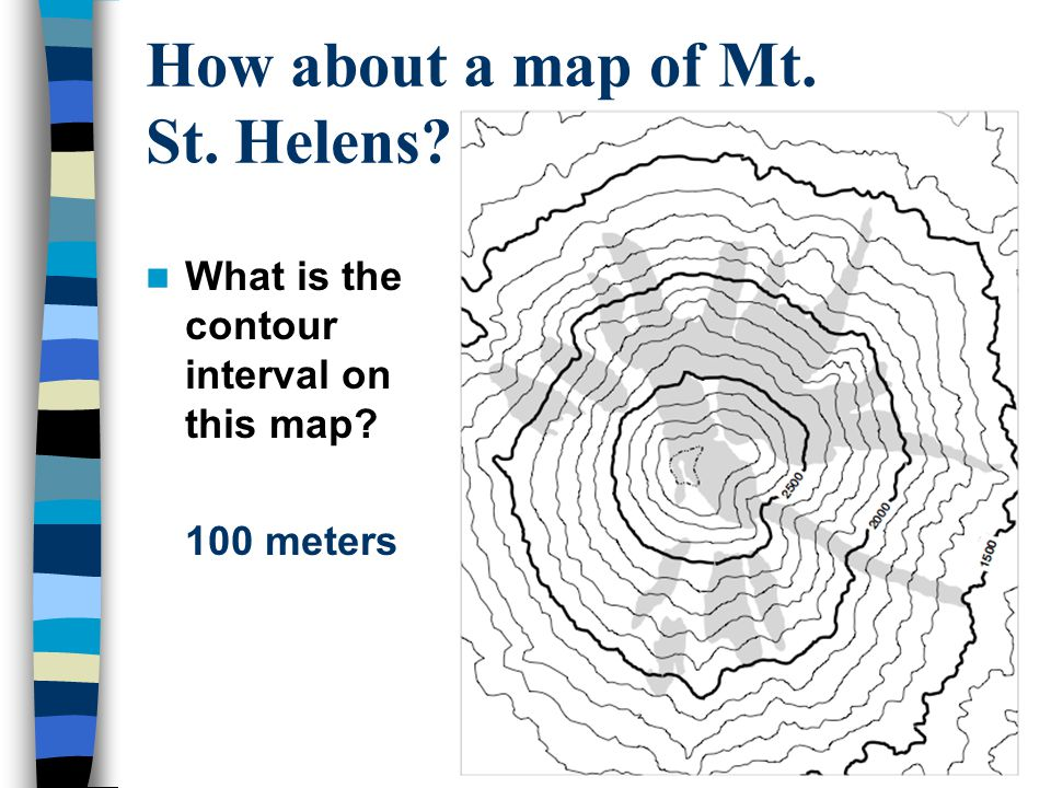 How about a map of Mt. St. Helens??? What is the contour interval on this map? 100 meters