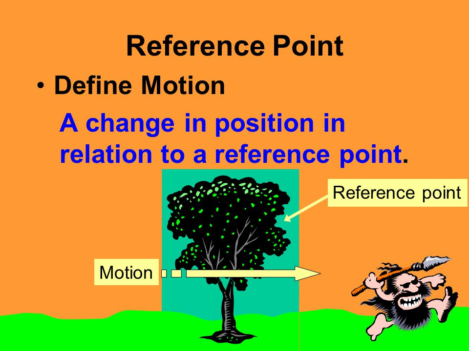 Reference Point Define Motion A change in position in relation to a reference point. Reference point Motion