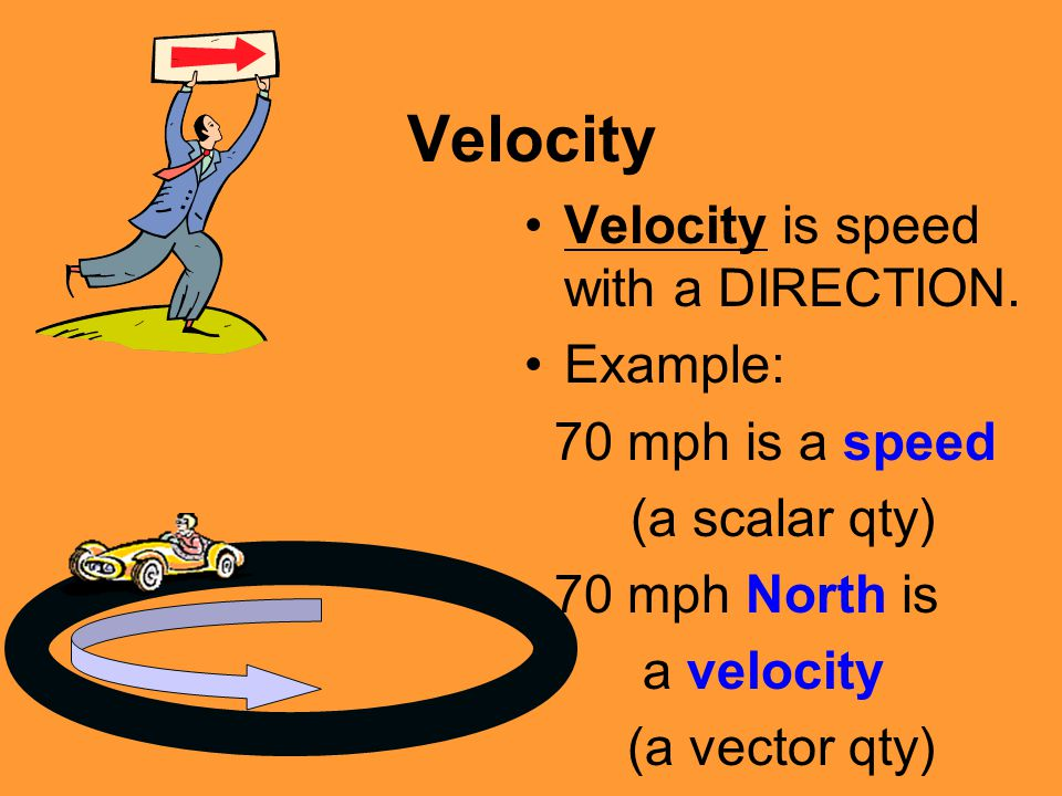 Velocity Velocity is speed with a DIRECTION. Example: 70 mph is a speed (a scalar qty) 70 mph North is a velocity (a vector qty)