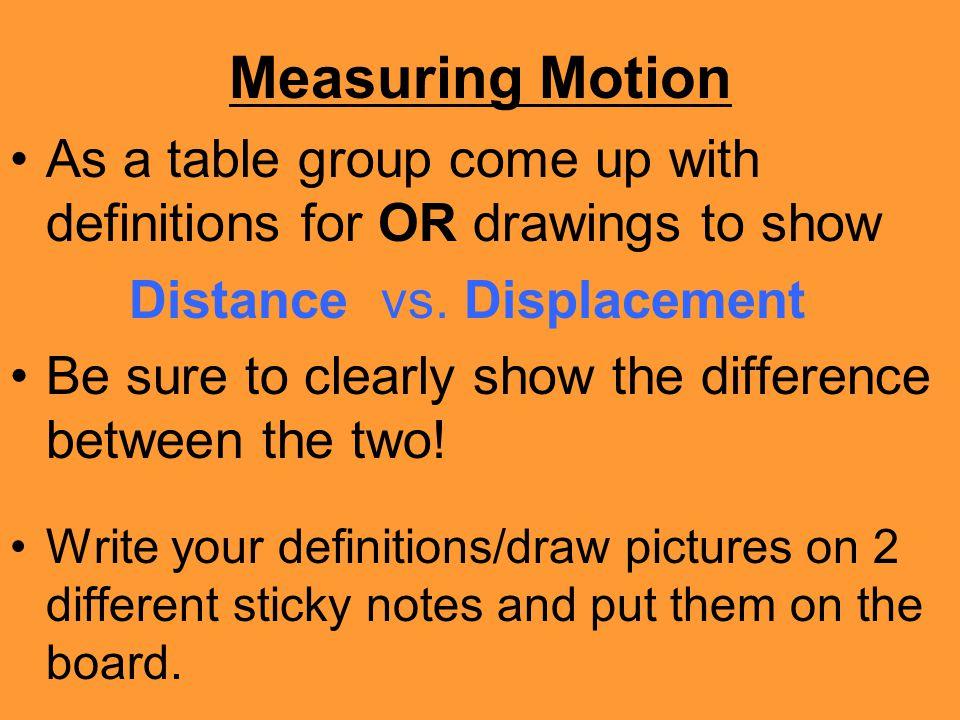 Measuring Motion DISTANCEDISPLACEMENT