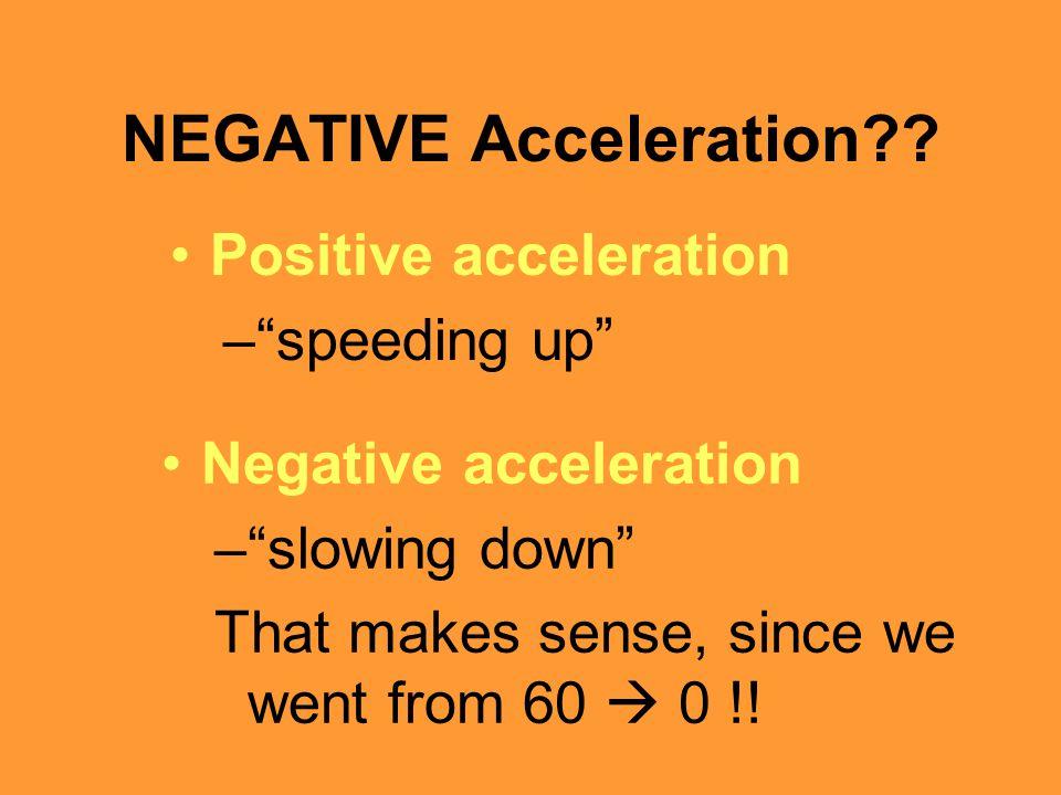 "NEGATIVE Acceleration?? Positive acceleration –""speeding up"" Negative acceleration –""slowing down"" That makes sense, since we went from 60  0 !!"