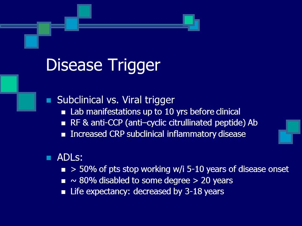 Disease Trigger Subclinical vs. Viral trigger Lab manifestations up to 10 yrs before clinical RF & anti-CCP (anti–cyclic citrullinated peptide) Ab Inc