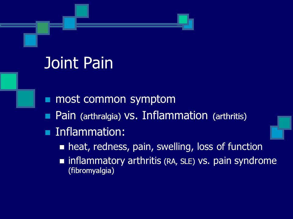Joint Pain most common symptom Pain (arthralgia) vs.