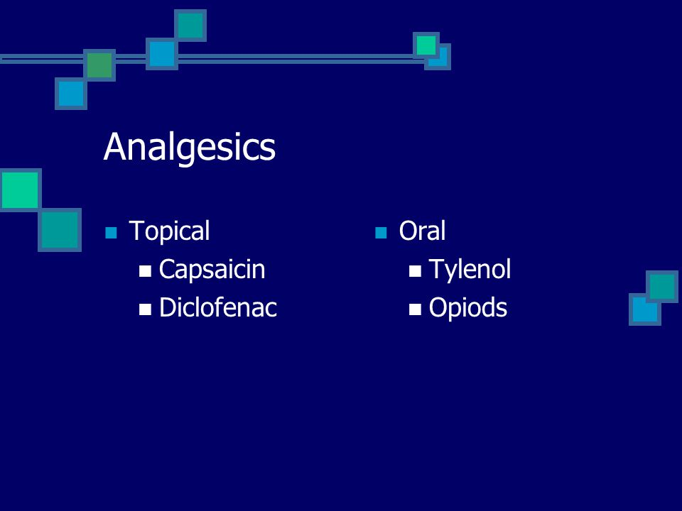 Analgesics Topical Capsaicin Diclofenac Oral Tylenol Opiods