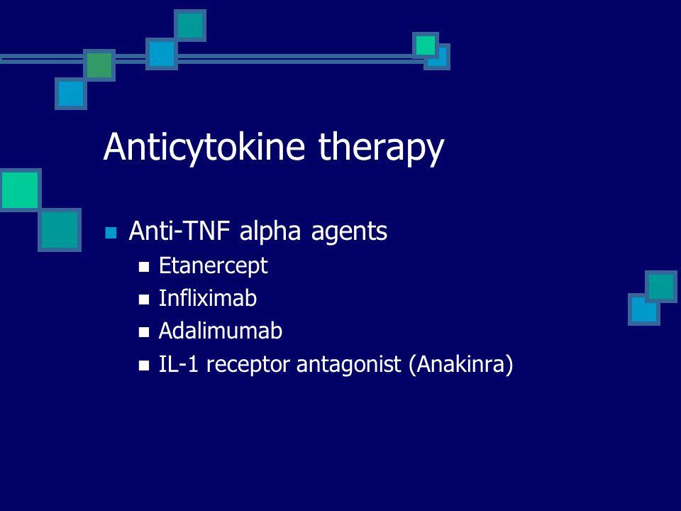 Anticytokine therapy Anti-TNF alpha agents Etanercept Infliximab Adalimumab IL-1 receptor antagonist (Anakinra)