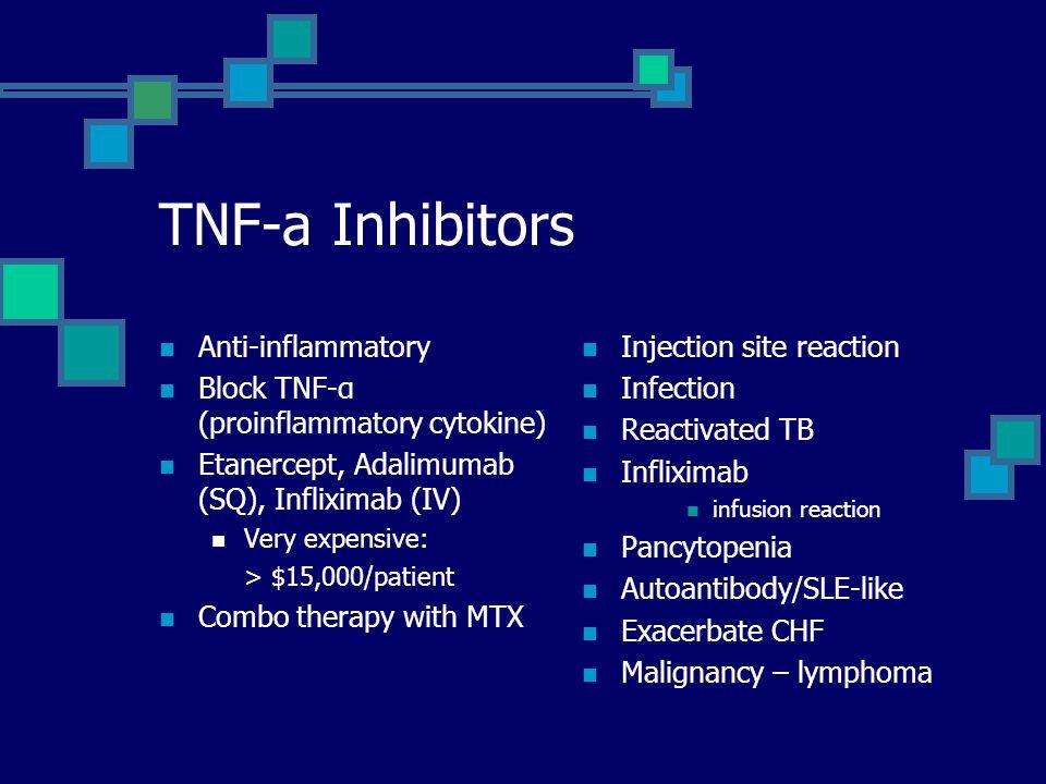 TNF-a Inhibitors Anti-inflammatory Block TNF-α (proinflammatory cytokine) Etanercept, Adalimumab (SQ), Infliximab (IV) Very expensive: > $15,000/patient Combo therapy with MTX Injection site reaction Infection Reactivated TB Infliximab infusion reaction Pancytopenia Autoantibody/SLE-like Exacerbate CHF Malignancy – lymphoma