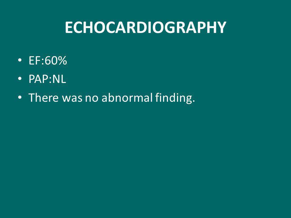 ECHOCARDIOGRAPHY EF:60% PAP:NL There was no abnormal finding.