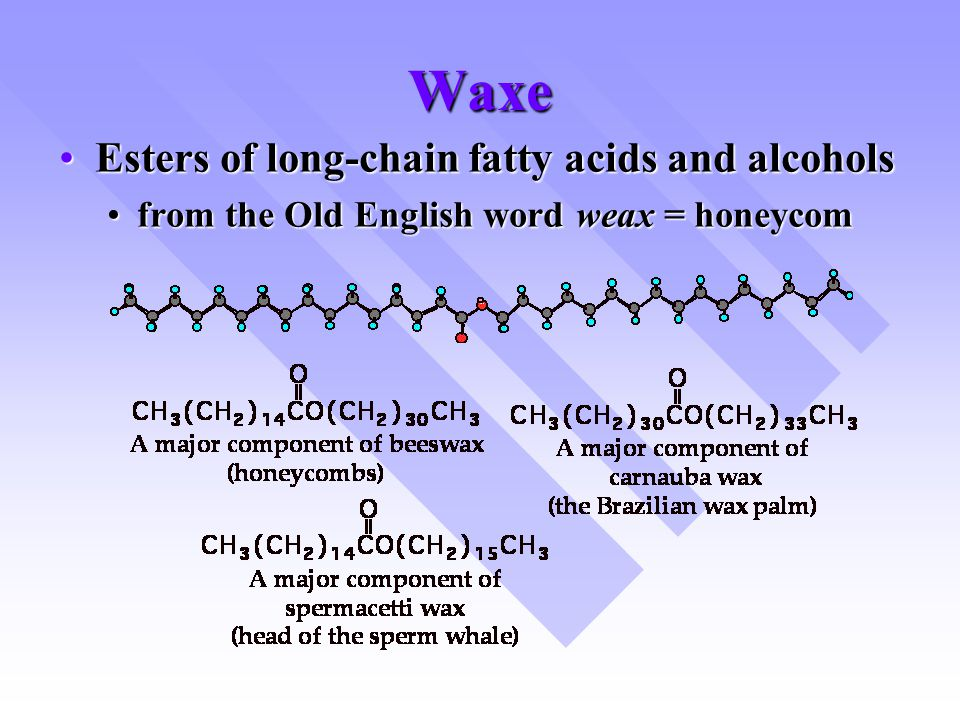 Waxe Esters of long-chain fatty acids and alcoholsEsters of long-chain fatty acids and alcohols from the Old English word weax = honeycomfrom the Old English word weax = honeycom